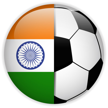 sports flag: Vector - India Flag with Soccer Ball Background