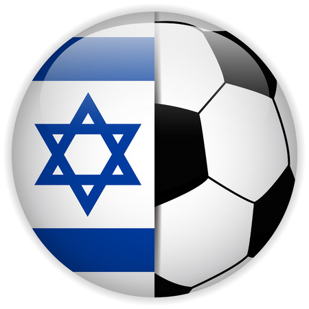 jews: Vector - Israel Flag with Soccer Ball Background