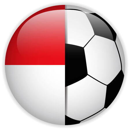 monegasque: Vector - Monaco Flag with Soccer Ball Background Illustration