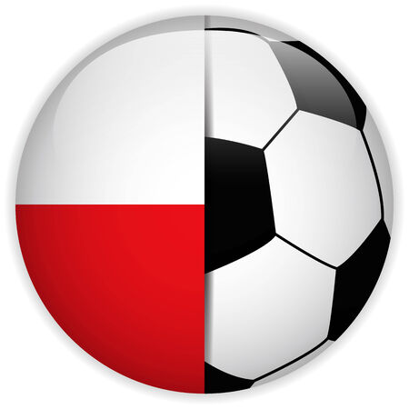 polish flag: Vector - Poland Flag with Soccer Ball Background Illustration