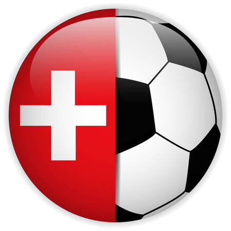 Vector - Switzerland Flag with Soccer Ball Background Vector