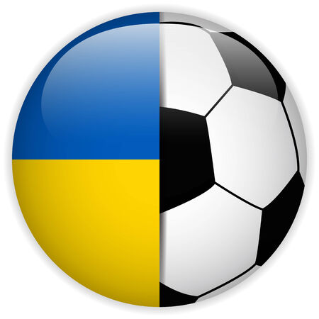 Vector - Ukraine Flag with Soccer Ball Background Vector