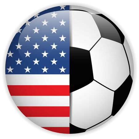 world cup: Vector - USA Flag with Soccer Ball Background