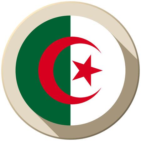 algeria: Vector - Algeria Flag Button Icon Modern Illustration