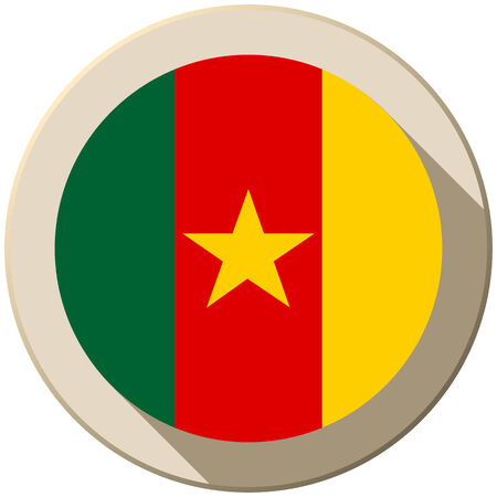 cameroon: Vector - Cameroon Flag Button Icon Modern Illustration