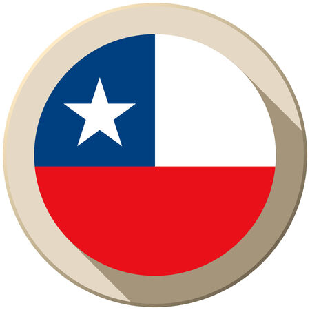 chile flag: Vector - Chile Flag Button Icon Modern