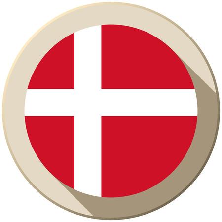Vector - Denmark Flag Button Icon Modern Vector