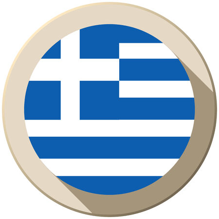 Vector - Greece Flag Button Icon Modern Vector