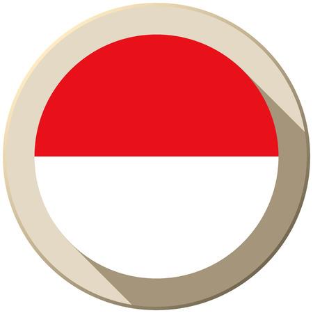 Vector - Monaco Flag Button Icon Modern Vector