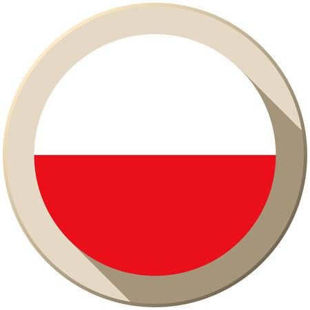 Vector - Poland Flag Button Icon Modern Vector