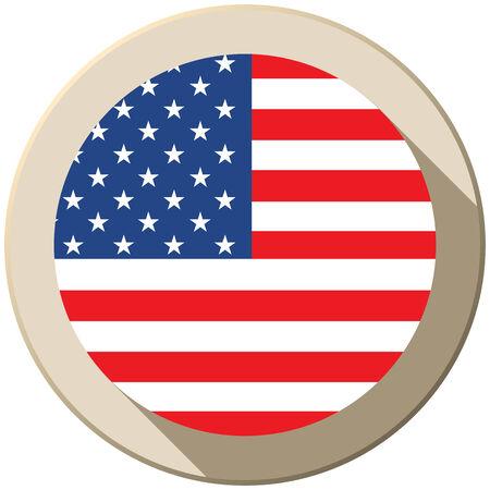 Vector - USA Flag Button Icon Modern Vector