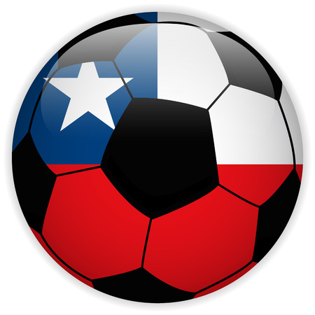 Vector - Chile Flag with Soccer Ball Background Vector