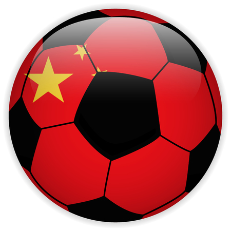 Vector - China Flag with Soccer Ball Background Vector