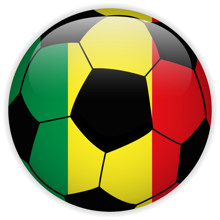 Vector - Mali Flag with Soccer Ball Background Vector