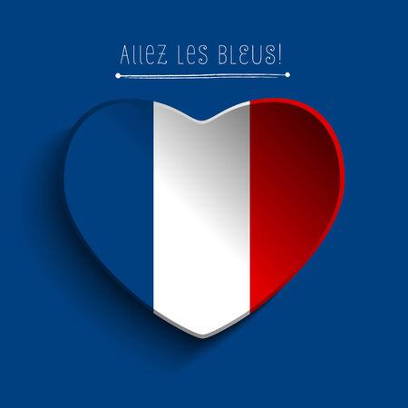 Vector - France Flag Heart Paper Sticker