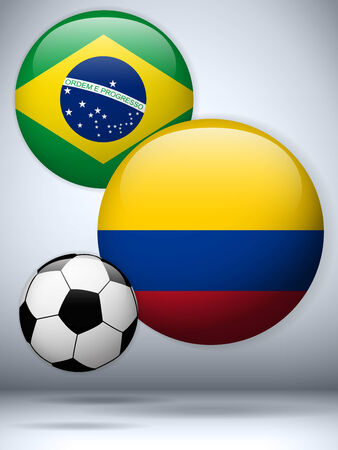 Vector - Brazil versus Colombia Flag Soccer Game Vector