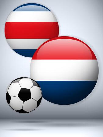 rican: Vector - Pa�ses Bajos frente a Costa Rica Flag Soccer Game Vectores
