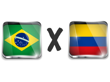 versus: Vector - Brazil versus Colombia Flag Soccer Game