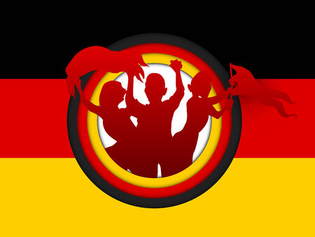 Vector - Germany Soccer Fan Flag Cartoon Vector