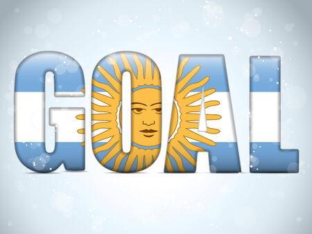 soccer goal: Vector - Argentina Goal Soccer 2014 Letters with Argentinian Flag Illustration