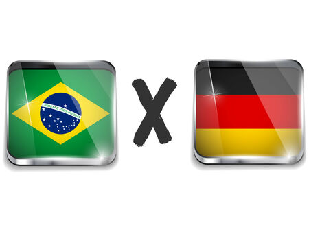 versus: Vector - Germany versus Brazil Flag Soccer Game