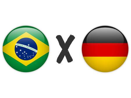 Vector - Germany versus Brazil Flag Soccer Game