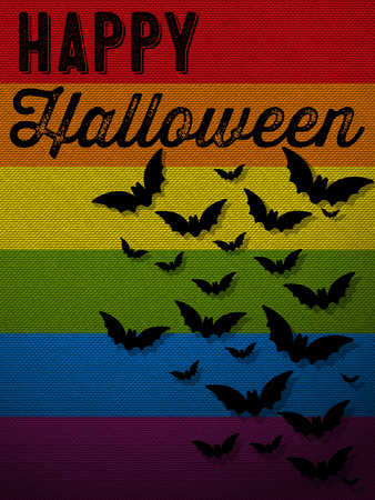 gay pride flag: Happy Halloween Ghost Bat Icon Background