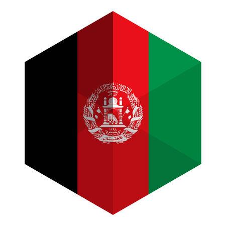 afghanistan: Afghanistan Flag Hexagon Flat Icon Button