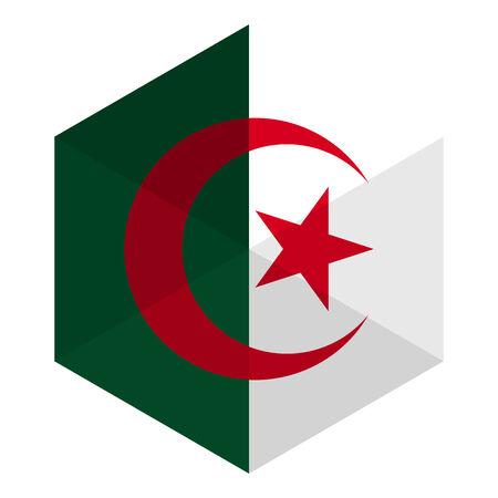 algeria: Algeria Flag Hexagon Flat Icon Button