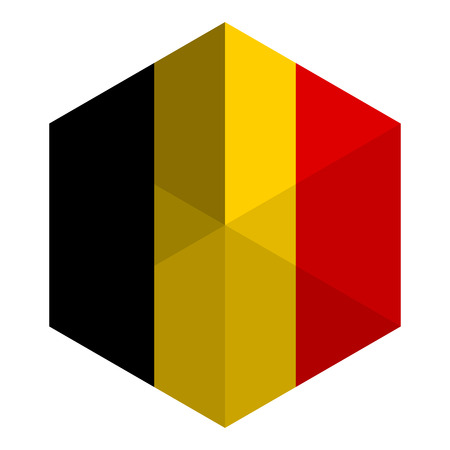 belgium flag: Belgium Flag Hexagon Flat Icon Button
