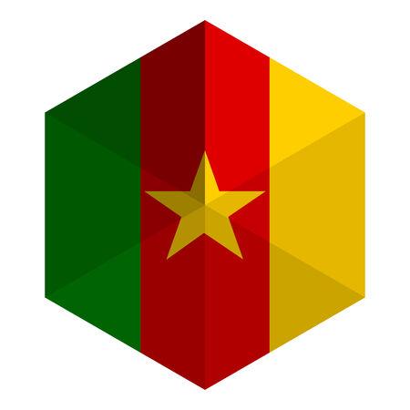 cameroon: Cameroon Flag Hexagon Flat Icon Button