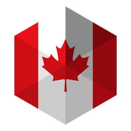 canadian icon: Canada Flag Hexagon Flat Icon Button