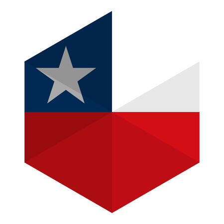 bandera de chile: Bandera Chile hexagonal plana Icon Button