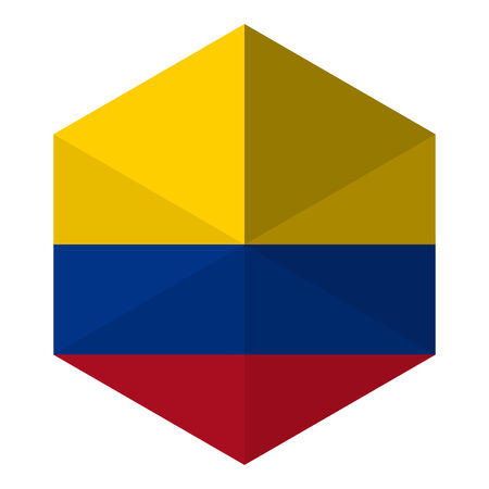 colombia flag: Colombia Flag Hexagon Flat Icon Button Illustration