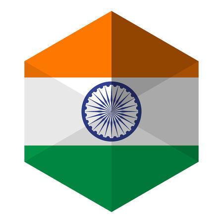 indian design: India Flag Hexagon Flat Icon Button Illustration
