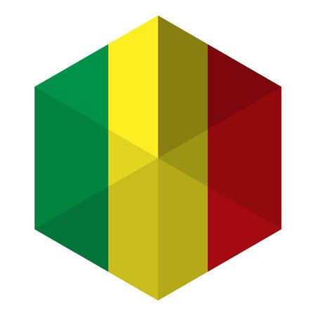 Mali Flag Hexagon Flat Icon Button Vector