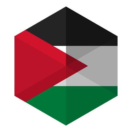 palestine: Palestine Flag Hexagon Flat Icon Button
