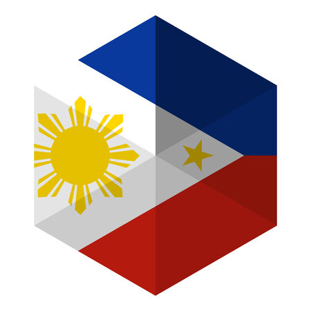 philippines: Philippines Flag Hexagon Flat Icon Button
