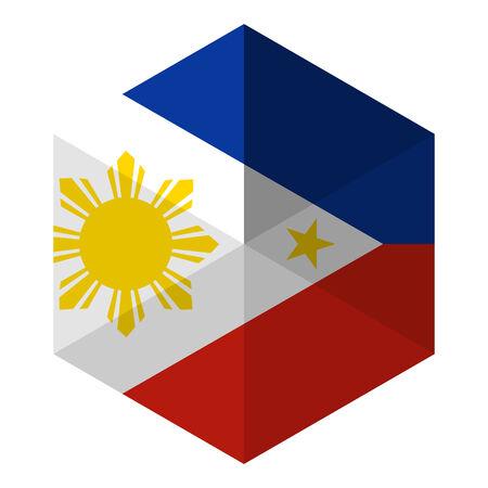filipino: Philippines Flag Hexagon Flat Icon Button