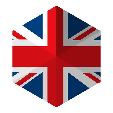 UK Flag Hexagon Flat Icon Button Vector