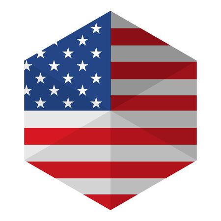 USA Flag Hexagon Flat Icon Button Vector
