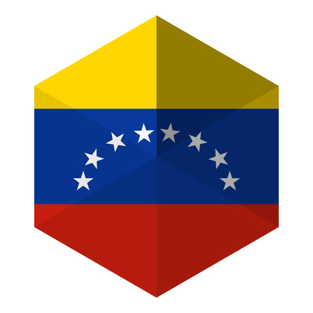 venezuela flag: Bandera Venezuela hexagonal plana Icon Button Vectores