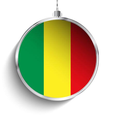 mali: Vector - Merry Christmas Silver Ball with Flag Mali