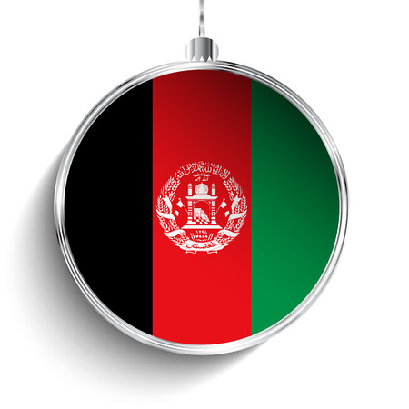 afghane: Vector - Frohe Weihnachten Silber Ball mit Flagge Afghanistan