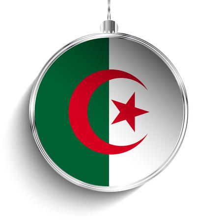 algeria: Vector - Merry Christmas Silver Ball with Flag Algeria Illustration