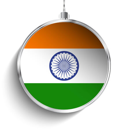 white flag: Vector - Merry Christmas Silver Ball with Flag India