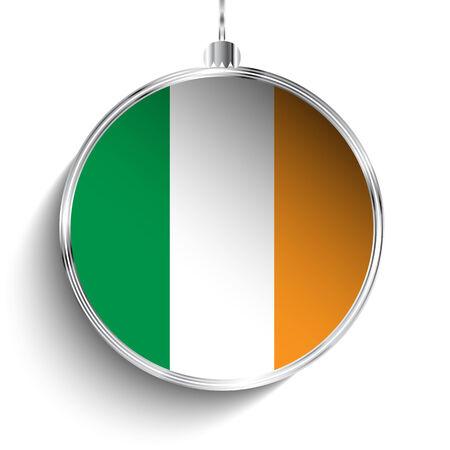 irish christmas: Vector - Merry Christmas Silver Ball with Flag Ireland