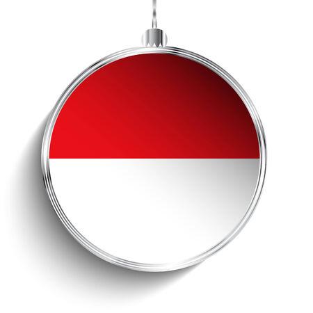 monegasque: Vector - Merry Christmas Silver Ball with Flag Monaco
