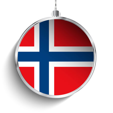 norwegian flag: Vector - Merry Christmas Silver Ball with Flag Norway