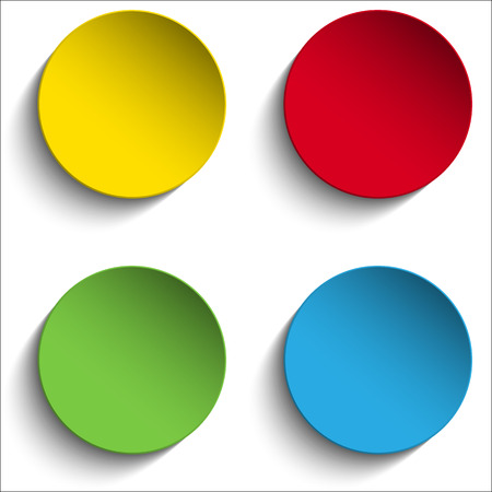 Vector - Set of Colorful Paper Circle Sticker Buttons 일러스트